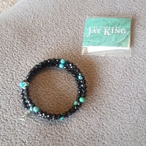Authentic Jay King black spinel and turquoise brac
